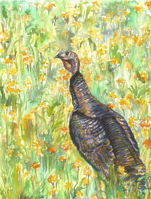 Wild Art Print featuring the painting Wild Turkey by Ashley Scibilia