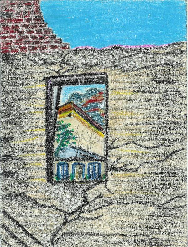 Window Art Print featuring the drawing Window Jerome Az by Ingrid Szabo