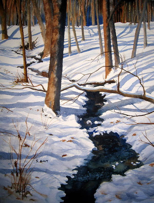 Landscape Art Print featuring the painting Winter Shadows by Shirley Braithwaite Hunt