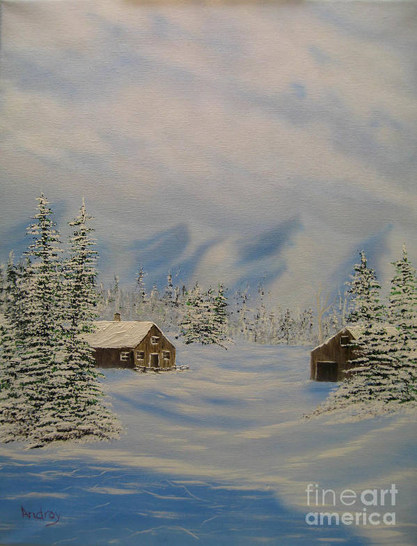 Mountains Art Print featuring the painting Winters Beauty by Todd Androy