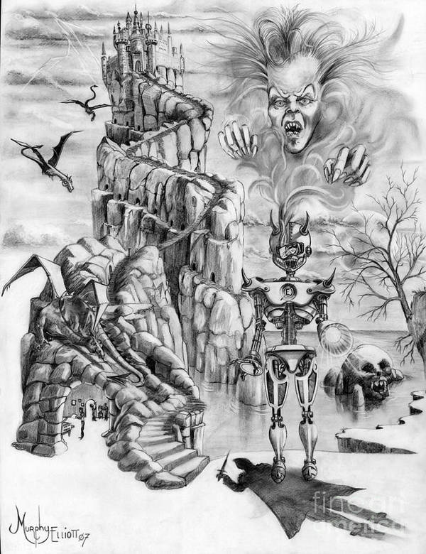 Witch Art Print featuring the drawing Witch Hunter by Murphy Elliott