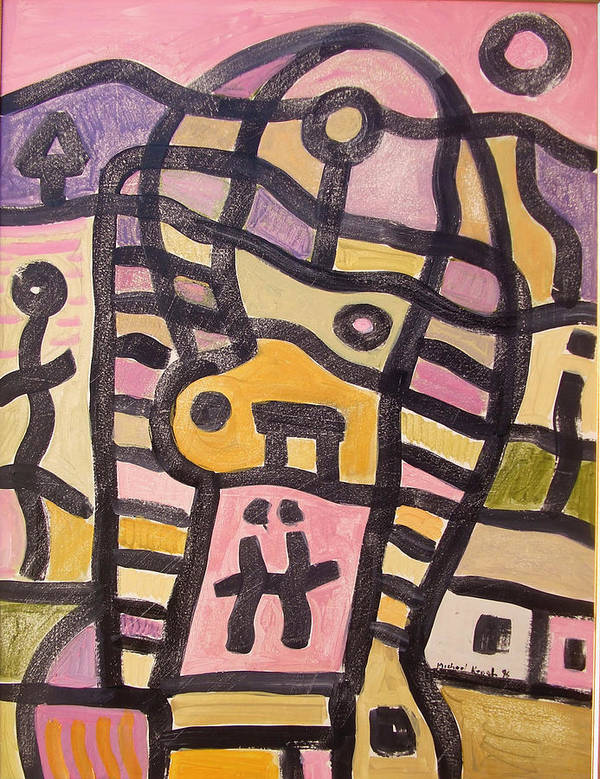 Abstract Art Print featuring the painting Woman In Pain by Michael Keogh