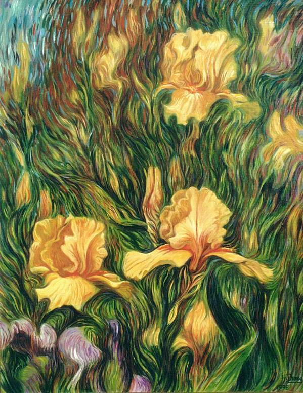 Iris Art Print featuring the painting Yellow Irises by Hans Droog