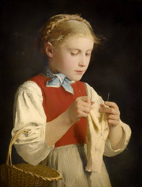 Painting Art Print featuring the painting Young Girl Knitting by Mountain Dreams