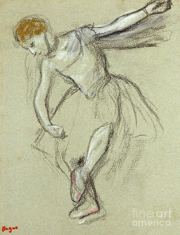 A Dancer In Profile Art Print featuring the pastel A Dancer In Profile by Edgar Degas