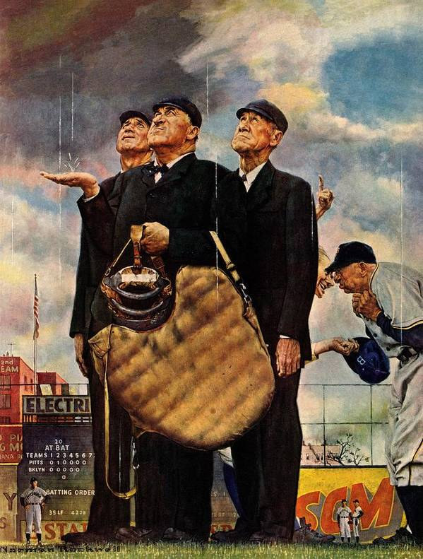 Baseball Art Print featuring the drawing Bottom Of The Sixth by Norman Rockwell
