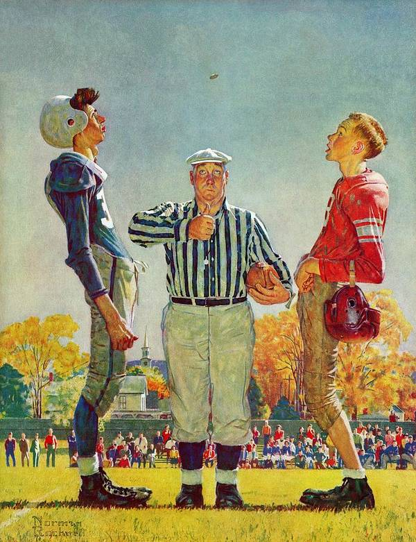 Coins Art Print featuring the drawing Coin Toss by Norman Rockwell