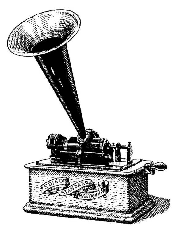 Phonograph. Edison. Edison's Phonograph. Wax Cylinder. Phonograph Illustration. Edison Illustration. Edison's Phonograph Illustration. Wax Cylinder Illustration. Art Print featuring the drawing Edisons Baby by Dan Nelson