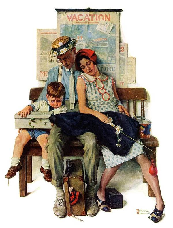 Families Art Print featuring the drawing Home From Vacation by Norman Rockwell