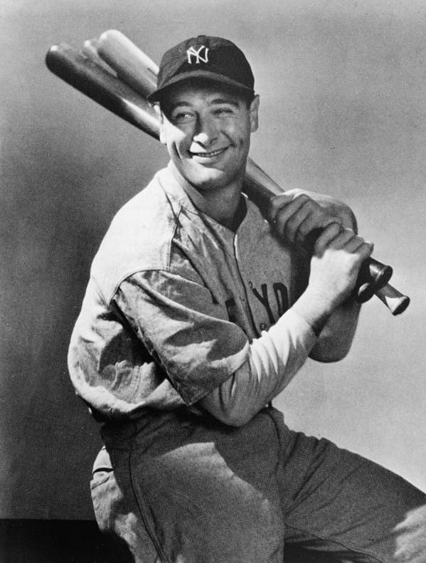 People Art Print featuring the photograph Lou Gehrig Holding Three Baseball Bats by Pictorial Parade