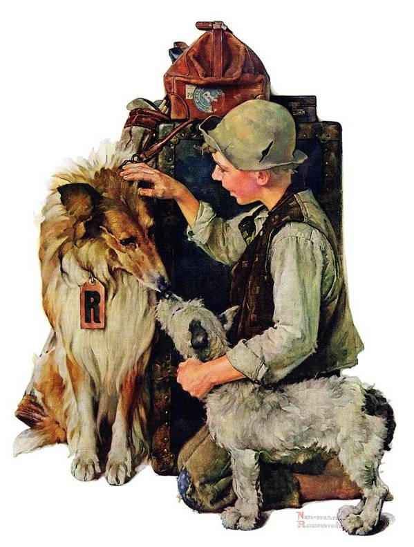 Boy Art Print featuring the drawing Making Friends by Norman Rockwell