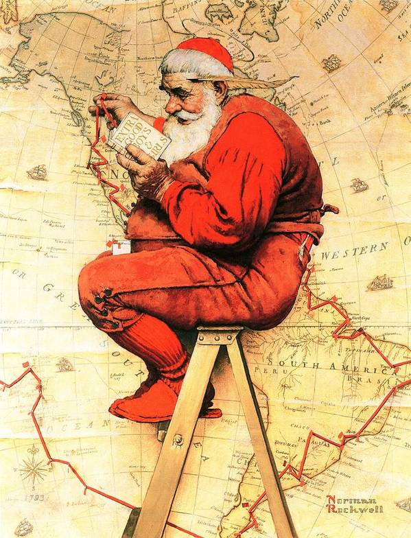 Christmas Art Print featuring the drawing Santa At The Map by Norman Rockwell