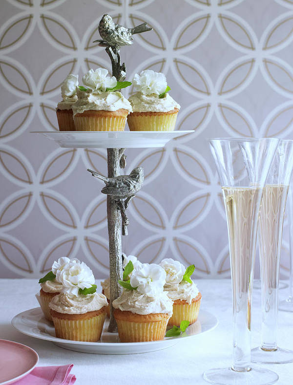 Wedding Reception Art Print featuring the photograph Wedding Cupcakes And Champagne by Iain Bagwell