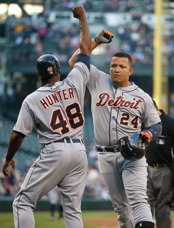 American League Baseball Art Print featuring the photograph Torii Hunter And Miguel Cabrera by Otto Greule Jr