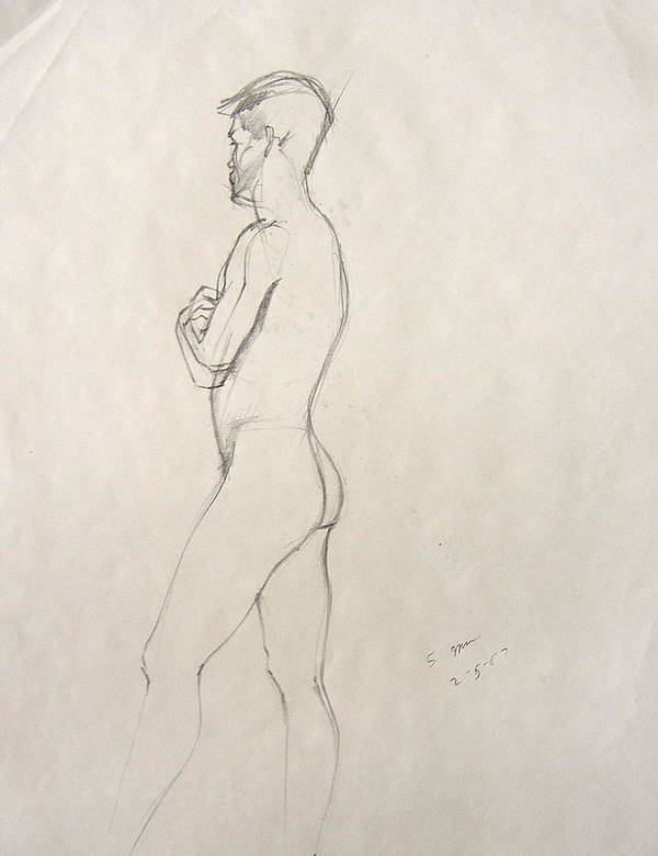 Figure Composition With Live Model Art Print featuring the drawing Untitled by Howard Stroman