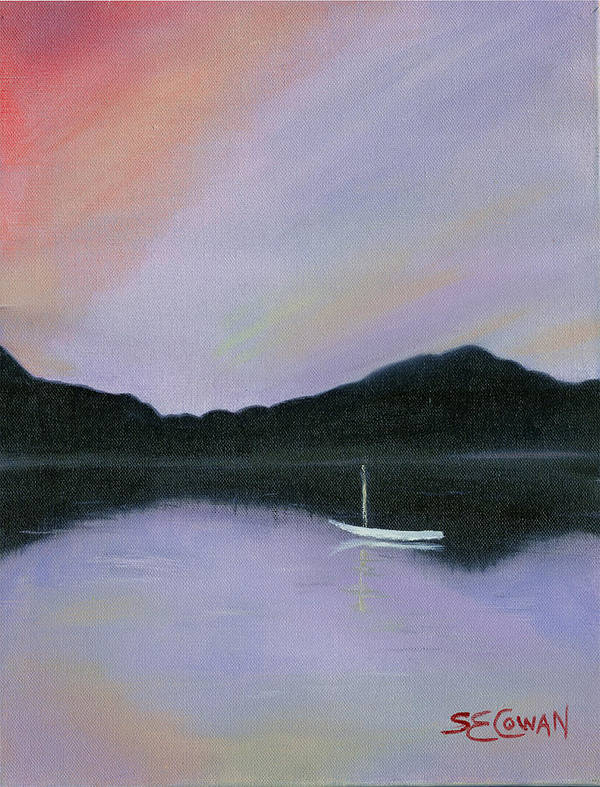 Landscape Art Print featuring the painting All Is Still by SueEllen Cowan
