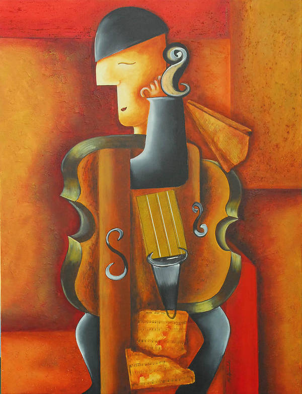 Abstract Expressionism Art Print featuring the painting Violin Time by Marta Giraldo