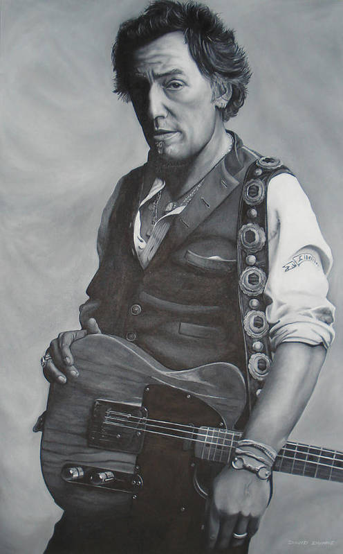 Bruce Springsteen Art Print featuring the painting Bruce Springsteen I by David Dunne