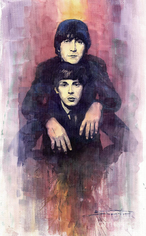 Watercolour Print featuring the painting The Beatles John Lennon And Paul Mccartney by Yuriy Shevchuk
