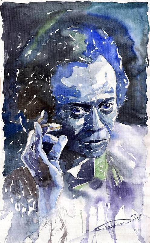 Jazz Art Print featuring the painting Jazz Miles Davis 11 Blue by Yuriy Shevchuk