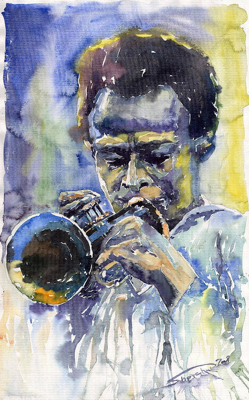 Jazz Art Print featuring the painting Jazz Miles Davis 12 by Yuriy Shevchuk