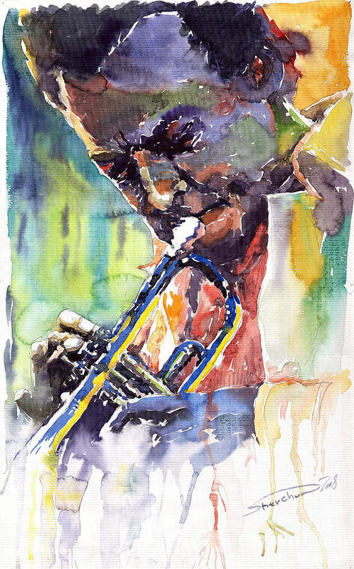 Jazz Miles Davis Music Musiciant Trumpeter Portret Art Print featuring the painting Jazz Miles Davis 9 Blue by Yuriy Shevchuk