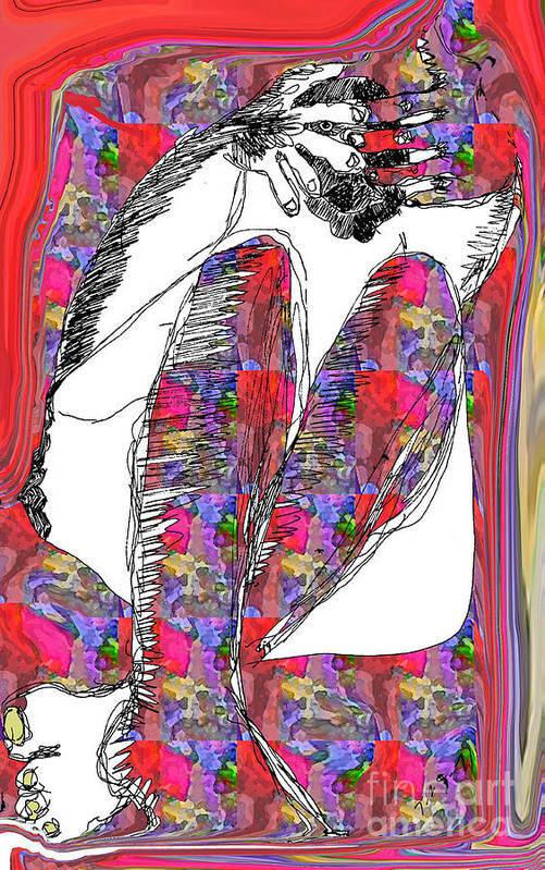 Abstract Art Print featuring the digital art Peek A Boo by Joyce Goldin