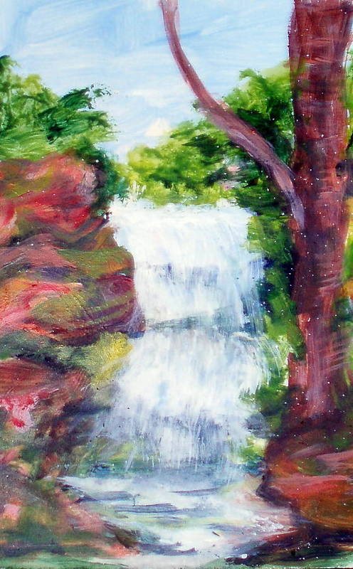 Falling Water Art Print featuring the painting Singing Water by Lia Marsman