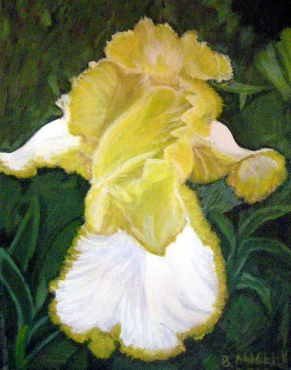 Angel Art Print featuring the painting Yellow Iris by Vera Lysenko