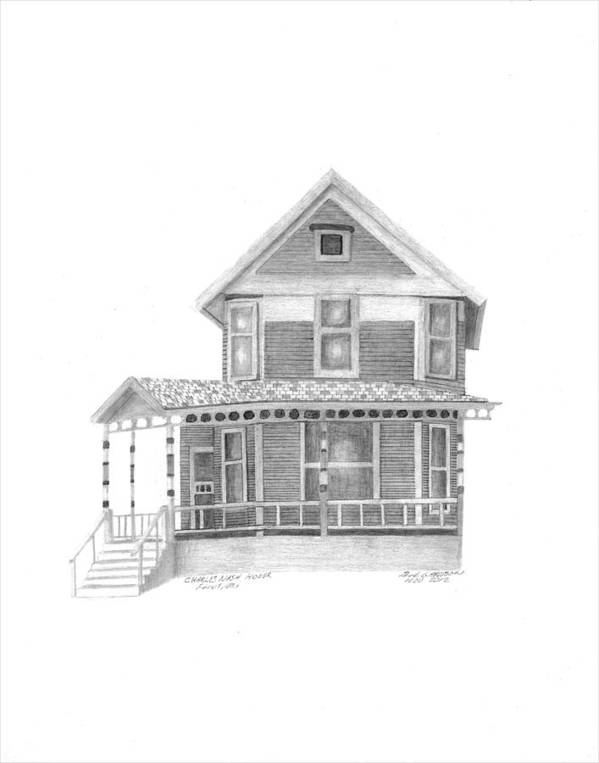 Nash Art Print featuring the drawing Charles Nash House by Bob and Carol Garrison