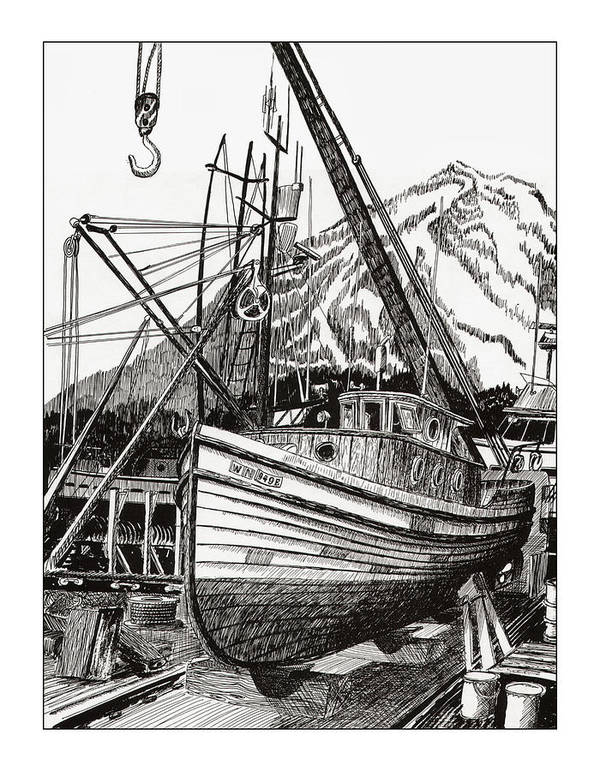 Commercial Fishing Boat Art Art Print featuring the drawing Will Fish Again Another Day by Jack Pumphrey