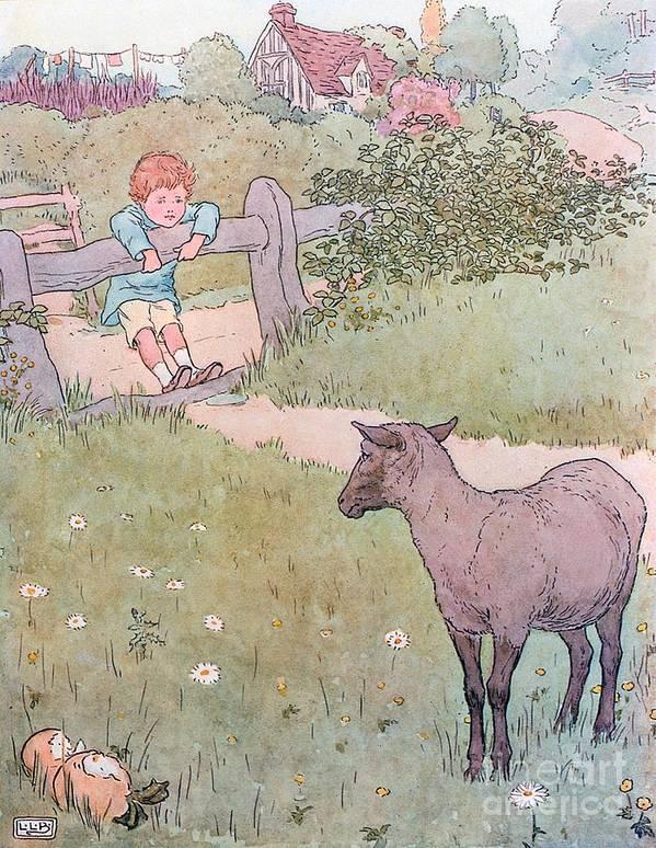 Nursery; Rhyme; Rhymes; Songs; Baa; Baa; Black Sheep; Cottage; Countryside; Lamb; Boy Art Print featuring the drawing Baa Baa Black Sheep by Leonard Leslie Brooke