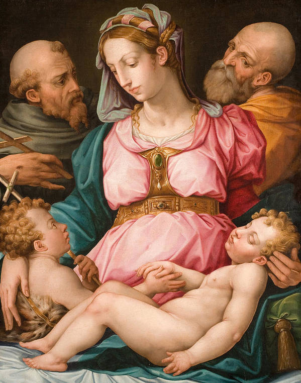 Holy Family Print featuring the painting Holy Family With The Infant Saint John The Baptist And Saint Francis by Giorgio Vasari