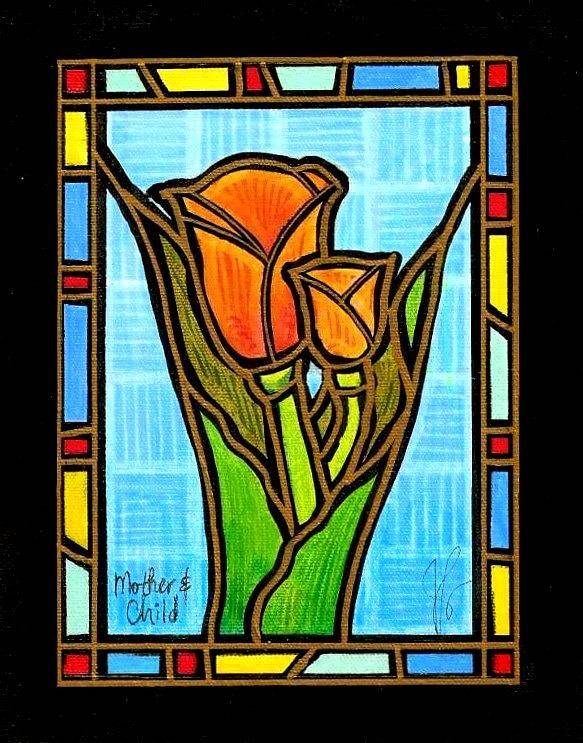 Tulips Art Print featuring the painting Mother And Child by Jim Harris