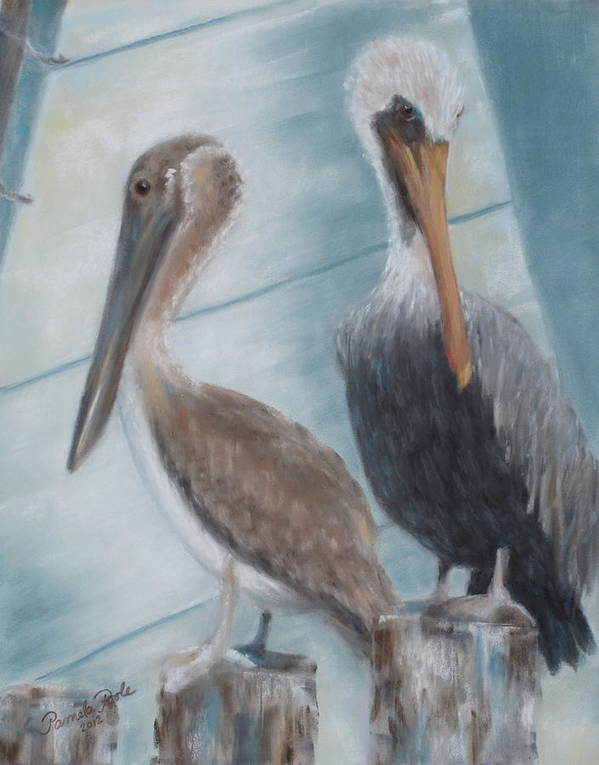 Pelicans Art Print featuring the painting Pier Pals by Pamela Poole