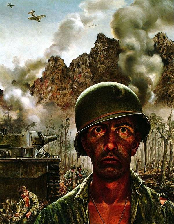 World War Ii Art Print featuring the painting 2000 Yard Stare 2000 by Mountain Dreams