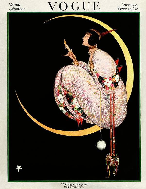 Illustration Art Print featuring the photograph A Vintage Vogue Magazine Cover Of A Woman by George Wolfe Plank