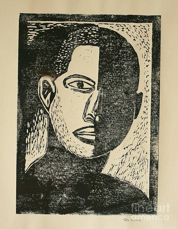 Lino Cut Art Print featuring the mixed media A Dark Side by Christiane Schulze Art And Photography