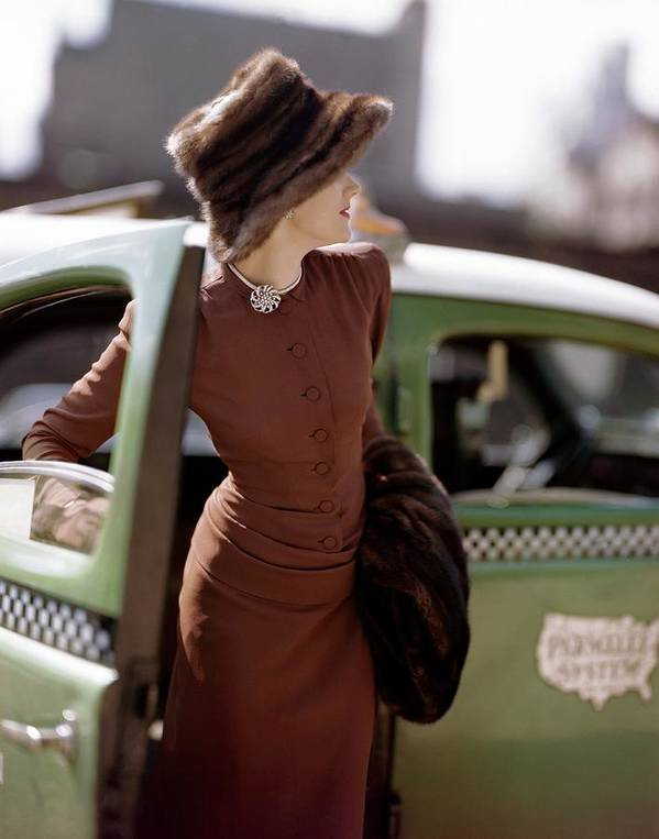 Fashion Art Print featuring the photograph A Model Getting Out Of A Cab by Constantin Joffe