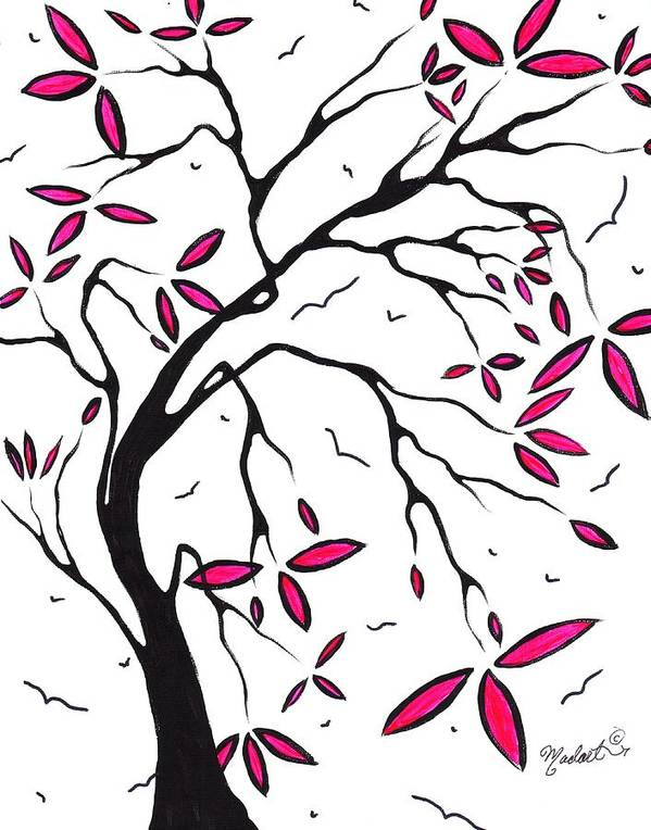 Abstract Print featuring the painting Abstract Artwork Modern Original Landscape Pink Blossom Tree Art Pink Foliage By Madart by Megan Duncanson