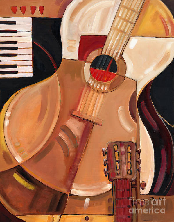Music Art Print featuring the painting Abstract Guitar by Paul Brent