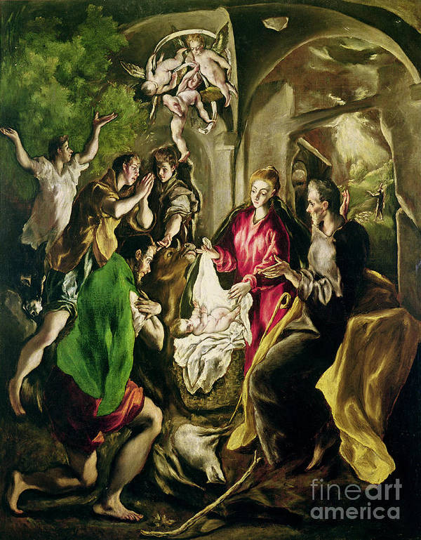 Adoration Des Bergers; Nativity; Birth; Infant Christ; Jesus; Madonna; Virgin Mary; Joseph; Changing; Angels; Stable; Manger Print featuring the painting Adoration Of The Shepherds by El Greco Domenico Theotocopuli