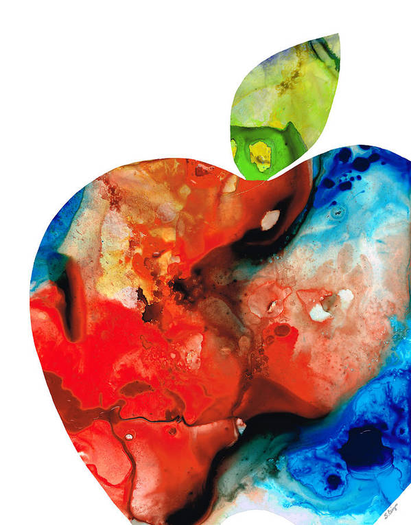 Apple Art Print featuring the painting An Apple A Day - Colorful Fruit Art By Sharon Cummings by Sharon Cummings