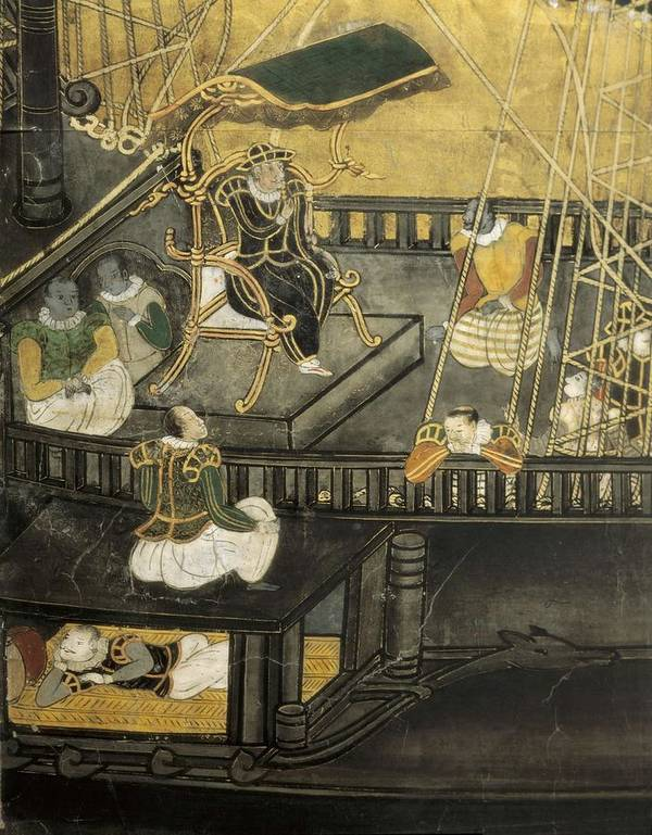 Vertical Art Print featuring the photograph Arrival Of The Portuguese To Japan by Everett