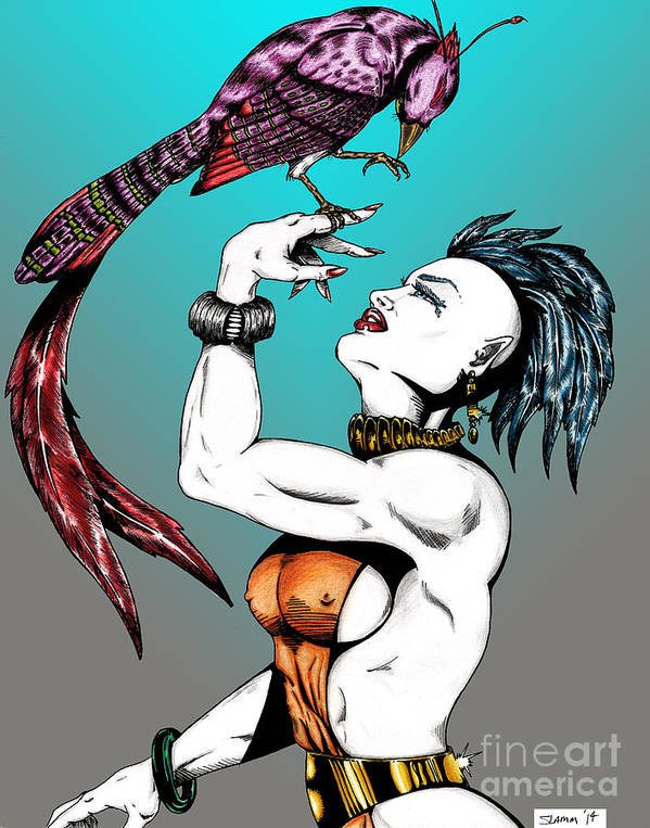 Fantasy Art Print featuring the drawing Ashira And Pet by Steven Lamm