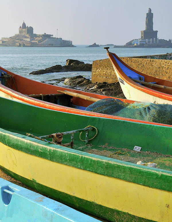 Arabian Sea Art Print featuring the photograph Asia, India, Tamil Nadu, Kanniyakumari by Steve Roxbury