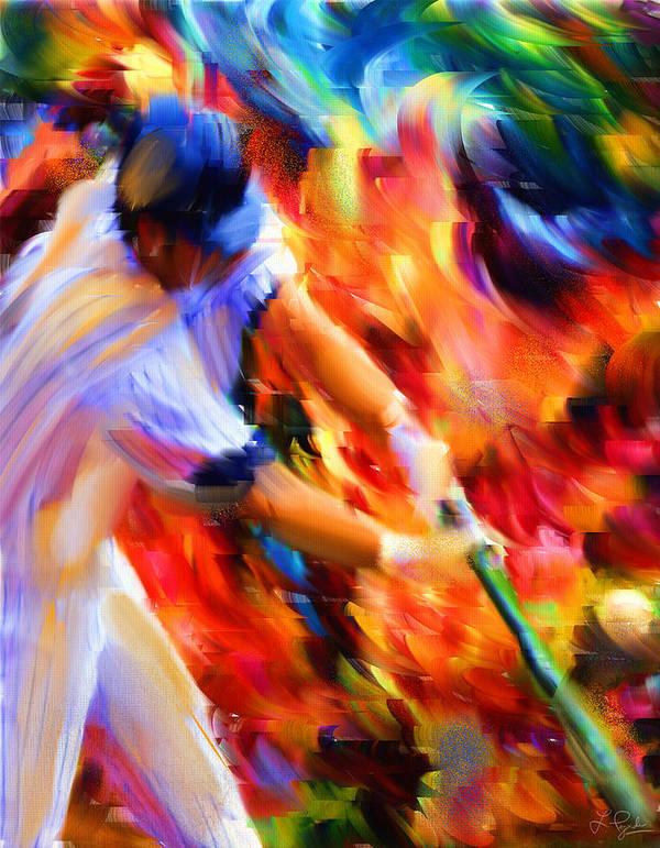 Baseball Art Print featuring the digital art Baseball IIi by Lourry Legarde