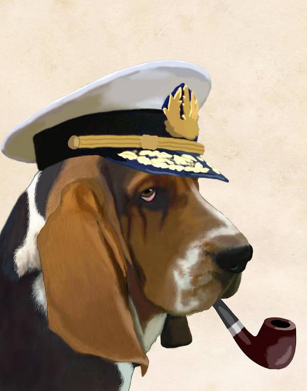 Dog Framed Prints Art Print featuring the digital art Basset Hound Seadog by Kelly McLaughlan