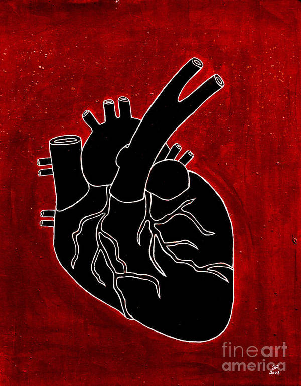 Art Print featuring the painting Black Heart by Stefanie Forck