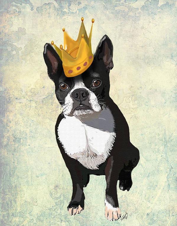 Boston Terrier Framed Prints Art Print featuring the digital art Boston Terrier With A Crown by Kelly McLaughlan